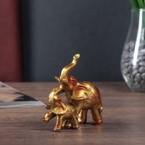 """Сувенир полистоун """"Слон со слонёнком мозаика на попоне"""" 12х12х4 см   4556675"""