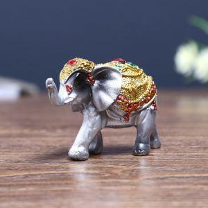 """Сувенир полистоун """"Слонёнок в золотой попоне с рубином"""" 5,5х8,5х3,2 см   4311167"""