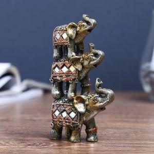 """Сувенир полистоун """"Три слоника-пирамида попона с мозаикой"""" 12х7х3 см   4311171"""