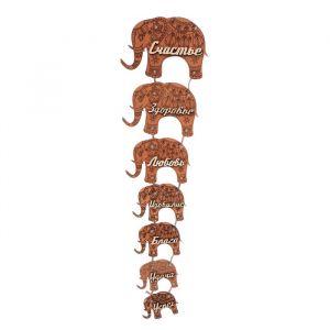 """Сувенир-подвеска дерево """"Семь слонов"""" 40х13 см 3525799"""