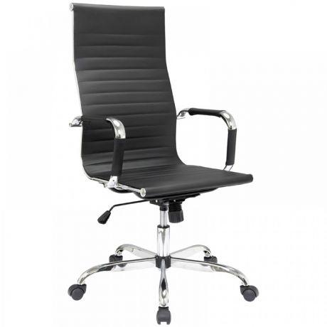 """Кресло руководителя Helmi HL-E17 """"Slim"""", экокожа черная, хром"""