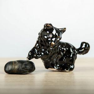 """Статуэтка """"Собака на траве"""" чёрный, 12 см, керамика"""