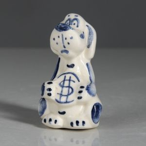 """Статуэтка """"Собачка с монетой"""", белый цвет, 7 см"""