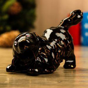 """Сувенир """"Песик"""", глянец, чёрный, 9 см, керамика"""