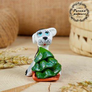 Сувенир ковровская глиняная игрушка «Собачка с санками и ёлкой»   2719720