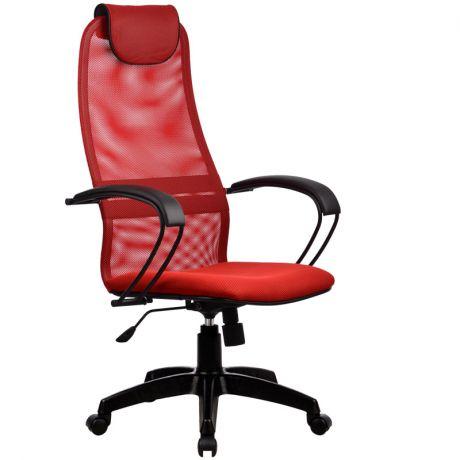 """Кресло руководителя Метта """"Business"""" BР-8 PL, ткань-сетка красная №22, механизм качания"""