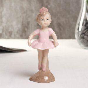"Сувенир фарфор ""Балеринка"" розовый 4.5х4.5х13 см   4677422"