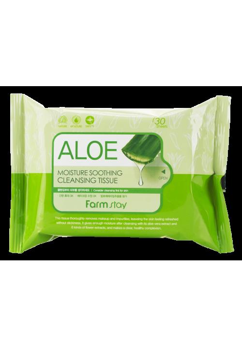 FarmStay Очищающие увлажняющие салфетки с экстрактом алоэ 30 шт