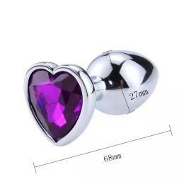 Анальная пробка сердце размер S, металл