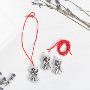 Набор талисманов на крас.нити «Ангел-хранитель» 3 шт., белый, серебро, 1,6 х 2,5 см
