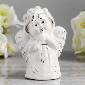 """Статуэтка """"Ангел девочка"""", глянец белый, золото, 12 см  4018564"""