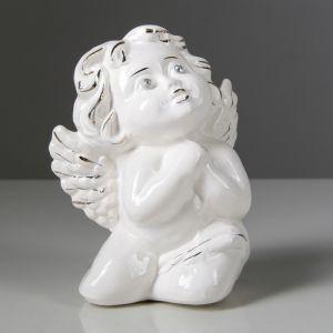 """Статуэтка """"Ангел мальчик"""" глазурь, белая, 12 см, керамика"""