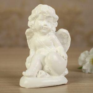 """Статуэтка """"Ангел на сердечке 3"""" белая, 10 см"""