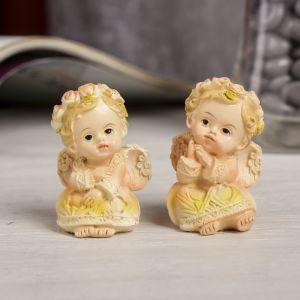 """Сувенир полистоун """"Ангел в цветочном венке и резном платье призадумался"""" МИКС 4,7х3х3,2 см   3640475"""