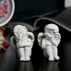"""Сувенир полистоун """"Ангел задумчивый"""" беж МИКС 6,5х4,2х4 см   3741015"""