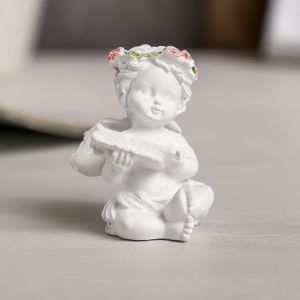 """Сувенир полистоун """"Белоснежный ангел в розовом венке с книгой"""" МИКС 5,5х3,5х4 см   3741016"""