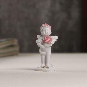 """Сувенир полистоун """"Белоснежный ангел в розовом веночке с букетом роз"""" 5,3х2,3х2,3 см   4053252"""