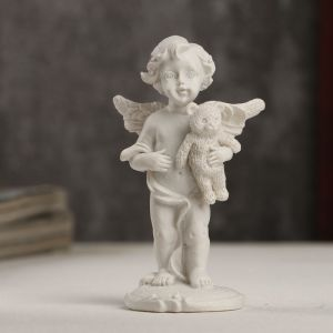 """Сувенир полистоун """"Белоснежный ангелочек с мишкой"""" 8,3х4,2х3 см   4053234"""
