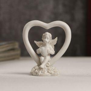 """Сувенир полистоун """"Белоснежный ангелочек с сердечком в сердце"""" 6х5,5х3 см   4053231"""