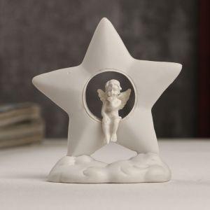 """Сувенир полистоун """"Белоснежный ангелочек сидит в звёздочке"""" 8х7,2х3,2 см   4053238"""