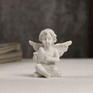 "Сувенир полистоун ""Белоснежный ангелочек со звёздочкой"" страза 5х4,8х3 см   4053232"
