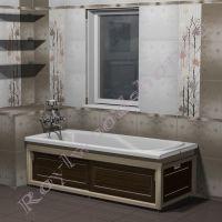 """Экран для ванны """"Лестер раздвижной, береза/орех"""" 170/150 см угловой"""
