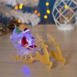 """Игрушка световая """"Дед мороз и сани"""" (батарейки в комплекте) 1 LED, RGB 1353357"""