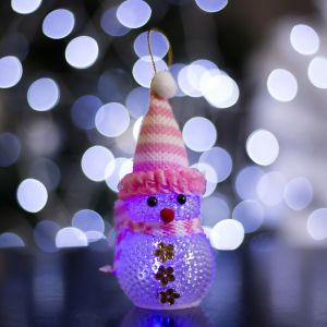 "Игрушка световая ""Снеговик"" (батарейки в комплекте) 5х13 см, 1 LED RGB, РОЗОВЫЙ 1077485"