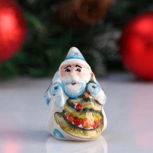 """Сувенир """"Дед Мороз с ёлкой"""", 7 см, цветная гжель 4950601"""