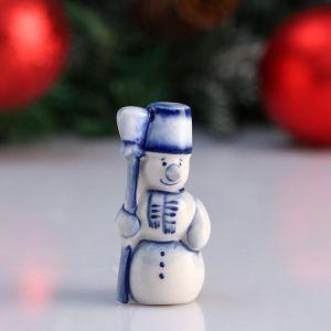 "Сувенир ""Снеговик с метлой"", 7 см, гжель 4950579"