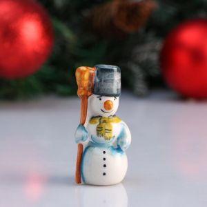 """Сувенир """"Снеговик с метлой"""", 7 см, цветная гжель 4950599"""