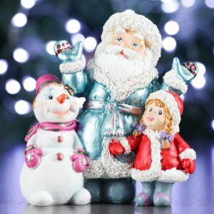 """Фигура """"Дед Мороз cнеговик и девочка"""" МИКС 9.5х6х10.5см   4488534"""
