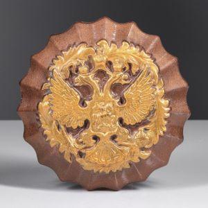 Герб круглый коричневый, золото, 17 см, керамика