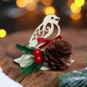 Настольный сувенир деревянный «Снегирь»