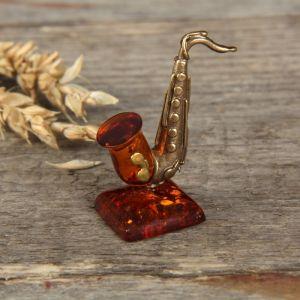 """Сувенир из латуни и янтаря """"Саксофон"""" 3280905"""