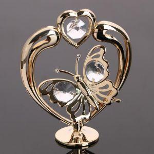 """Сувенир """"Сердце с бабочкой """",  с кристаллами Сваровски 4966769"""
