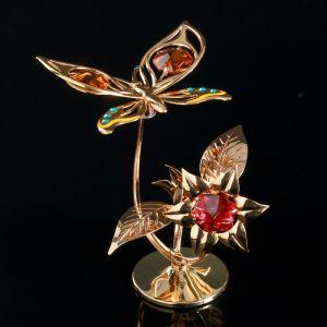 """Сувенир с кристаллами Сваровски """"Бабочка на орхидее"""" 10х7,8 см   4266168"""