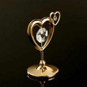 """Сувенир с кристаллами Сваровски """"Двойное сердце"""" 5,1х4,1 см   4266223"""