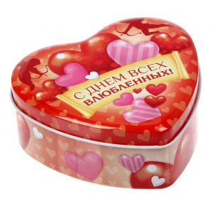 "Жестяная шкатулка в форме сердца ""С днем всех влюбленных!"", 12 х 11 х 4,5 см 1541834"