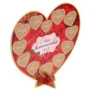 Сердце сувенирное со скретч-слоем «Наш романтический год»