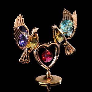 Сувенир «Лебеди на сердце», 3?9,5?8 см, с кристаллами Сваровски 4015484