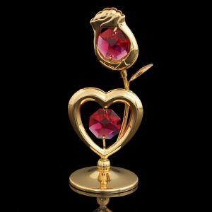 Сувенир «Роза с сердцем», 3?3?8 см, с кристаллами Сваровски 1431462