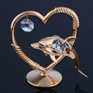 Сувенир «Сердце с дельфином»,7х4х8 см, с кристаллами Сваровски 4864884