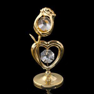 Сувенир «Сердце с цветком», 3х3х8 см, с кристаллами Сваровски 1431461
