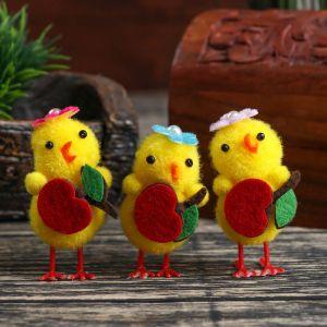"""Сувенир пасхальный """"Цыплёнок с вишенкой"""" набор 3 шт 6х3х2,5 см   4559939"""