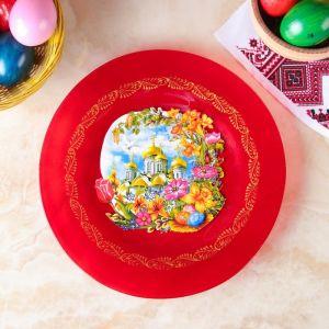 Тарелка для пасхальных угощений красная с декором   3258423
