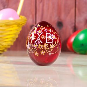 Яйцо пасхальное большое, стеклянное, катанное, с ручной росписью   3258438