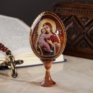 """Сувенир Яйцо на подставке икона """"Божья Матерь Владимирская"""""""
