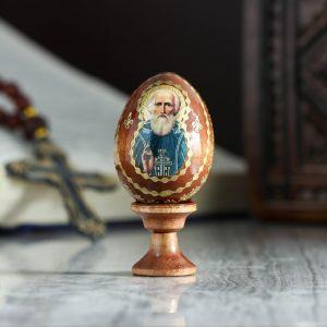 """Яйцо сувенирное """"Сергий Радонежский"""", на подставке 4126829"""