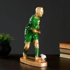 """Фигура """"Футболист №5"""" бронза с зелёным, 35см   3184563"""